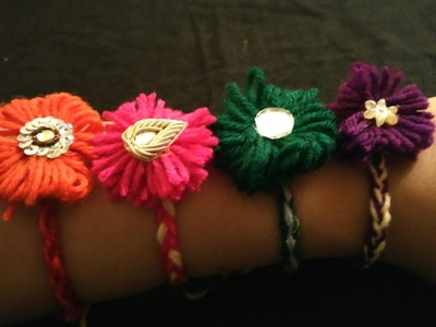 5 मिनट में राखी बनाना सीखे.DIY Rakhi.Woolen handmade rakhi tutorial in hindi:Design-182