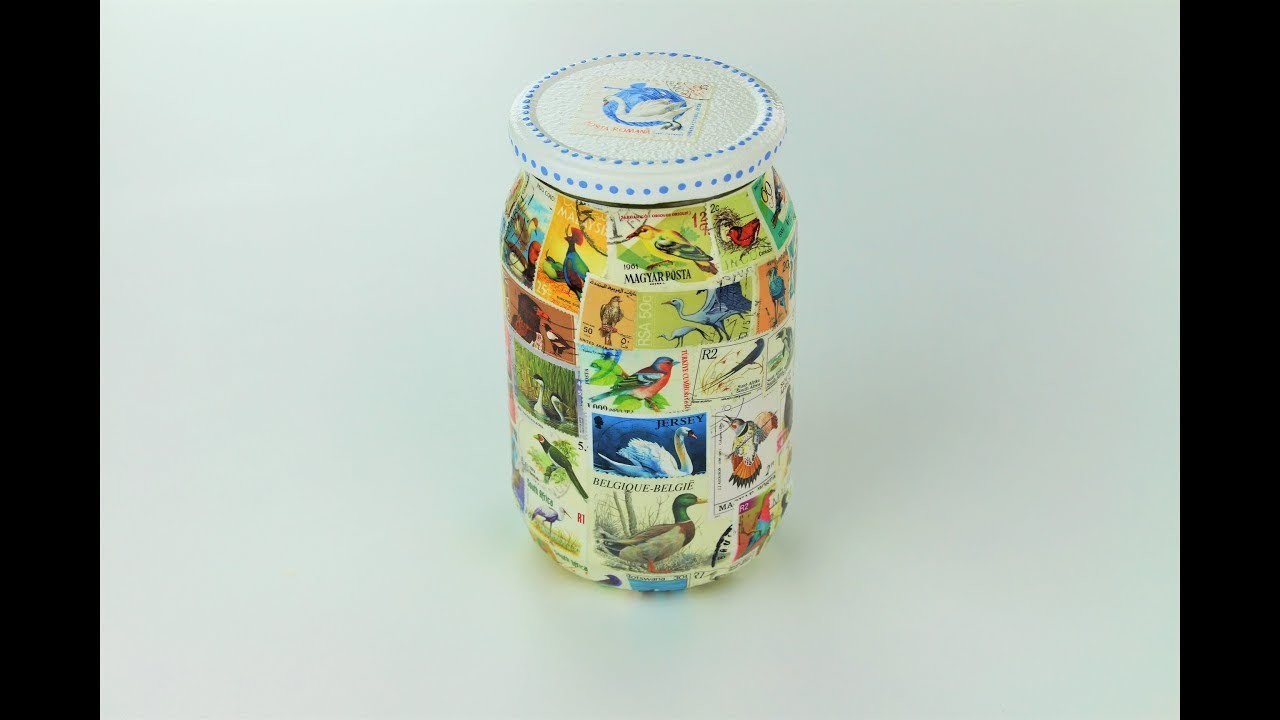 Decoupage jar with old stamps - Decoupage tutorial - DIY - Do It Yourself