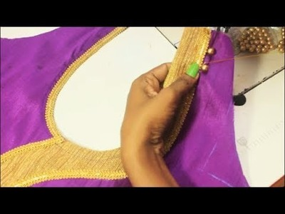 Designer Silk Blouse With patch Work (DIY)