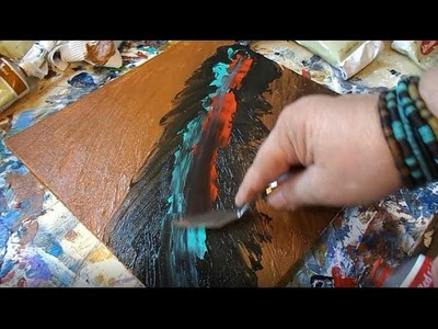 DIY Abstract Painting. Acrylic Paint. Palette Knife. Paper Towels. DETAILED