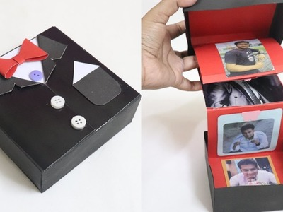 DIY Accordion Photo Card. DIY - Pull Out Photo Box | Suite Tuxedo card box. Suite box card