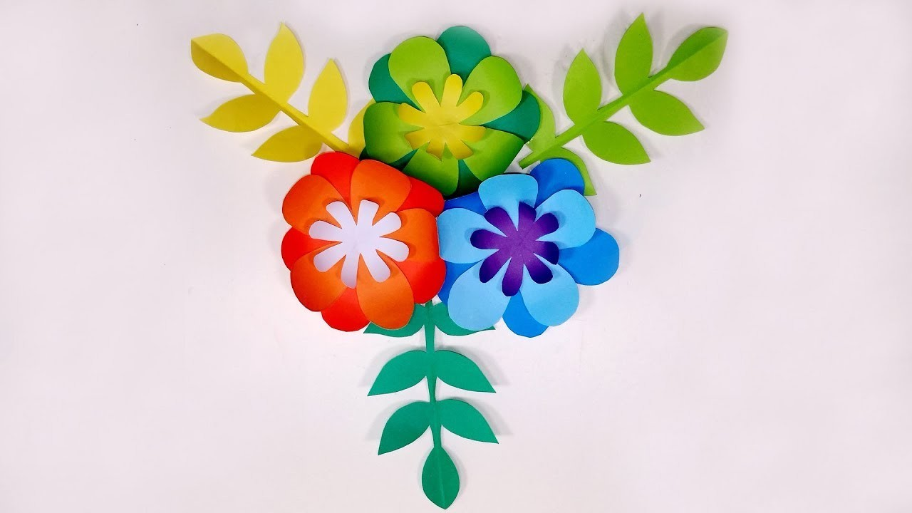 Diy Beautiful Paper Flower Making Wall Decoration Step By Step Paper