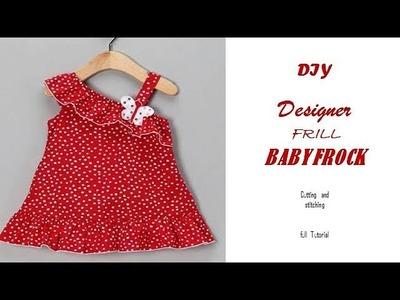 DIY Designer FRILL.Ruffled BABY FROCK cutting and Stitching full tutorial