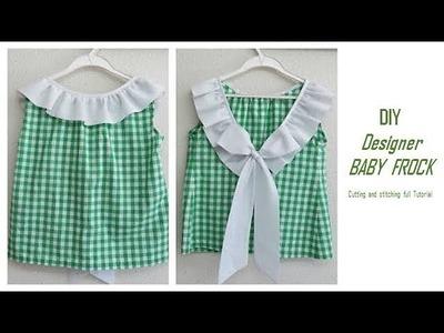 DIY Designer Ruffled BABY FROCK cutting and Stitching full tutorial