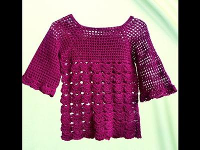 DIY.how to crochet lace tank top tutorial(کروشیہ لیس سویٹر)