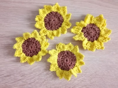 DIY How to crochet the sunflower step by step Tutorial