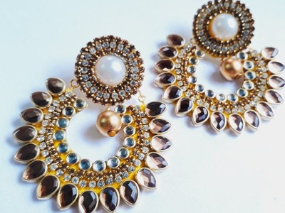 (DIY)HOW TO MAKE BEAUTIFUL BRIDAL WEAR EARRINGS.HANDMADE JEWELLERY.HOORIYA STYLE