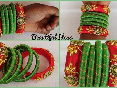 #DIY.How to make Silk thread Designer Bangles at home.Beautiful Ideas.Reuse Ideas.Jewellery tutorial