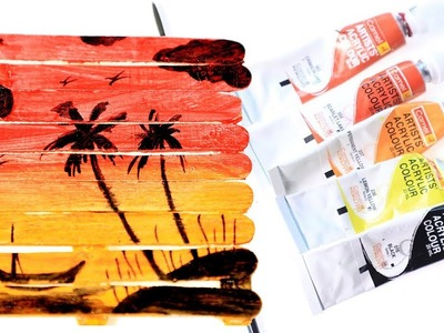 Diy ice Cream Stick Art or Popsicle Art   How to Make Scenery Paint on Popsicle Sticks   Silly Kids