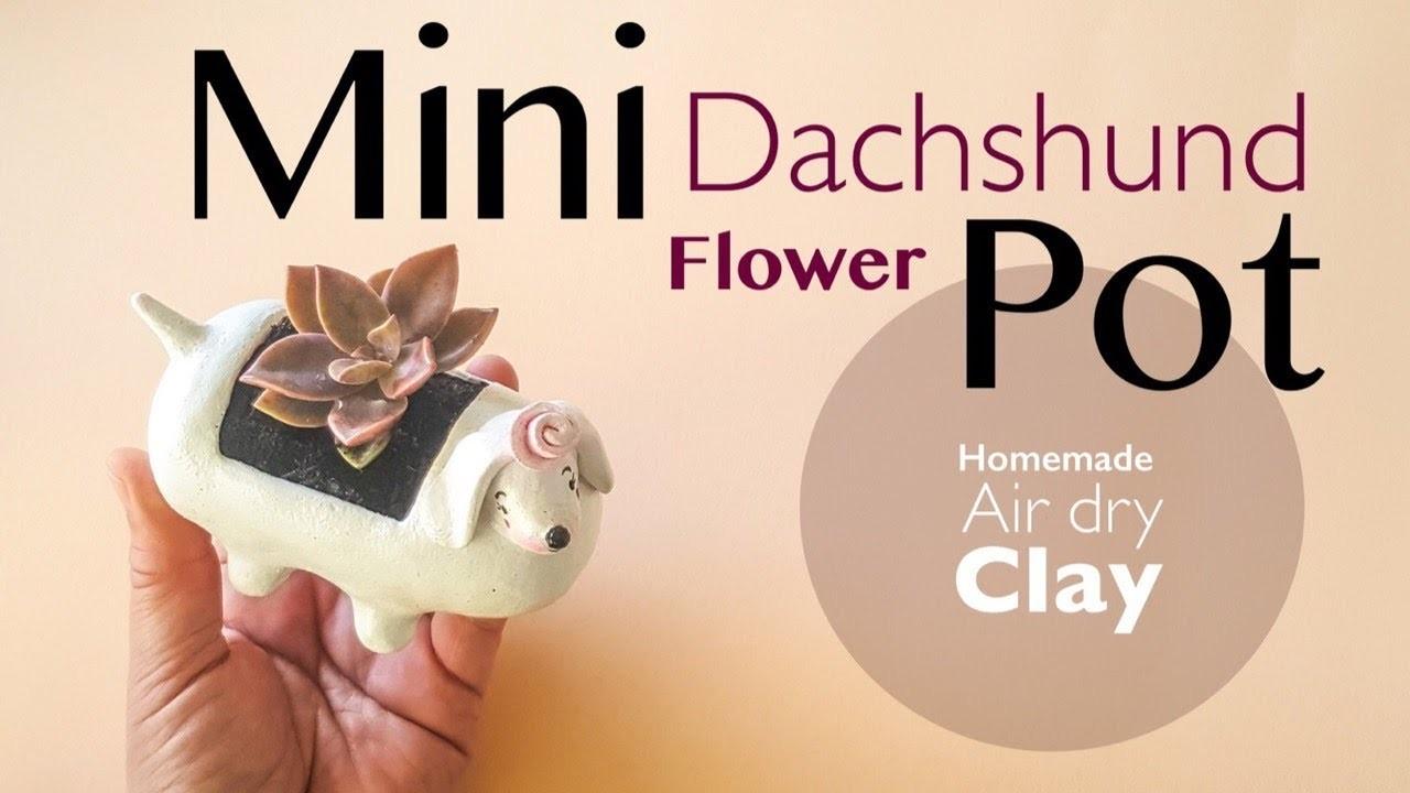DIY Mini Dachshund Dog Flower Pot. Planter (Recycling Plastic Packaging)