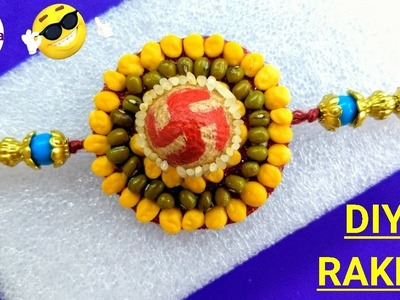 DIY Rakhi making at home | How to make rakhi at home | Easy Food grains Rakhi tutorial |Pulses rakhi