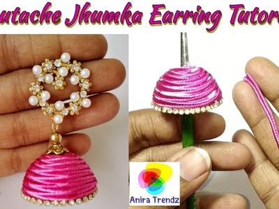 DIY Soutache Thread Jhumka Earring Tutorial at home Easy Beautiful Earrings