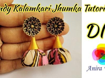 DIY Trendy Kalamkari Jhumka Earring Tutorial How to make fabric Jhumka at home