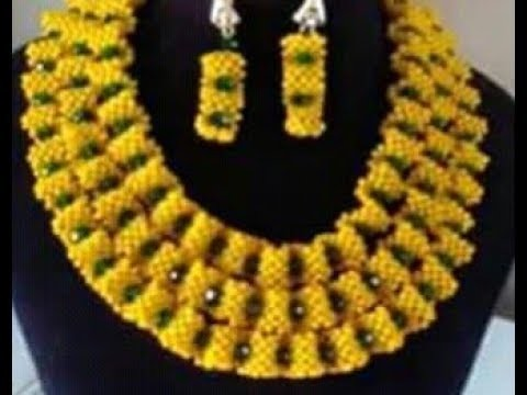 DIY tutorial on how to make this beautiful beaded yellow and green necklace
