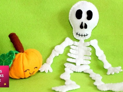 Felt Skeleton - DIY: How to make easy felt skeleton Halloween ornaments. Halloween Crafts .