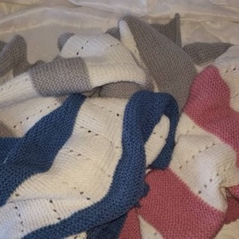 hand knitted baby blanket crib pram cuddle blanket