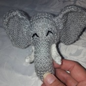 hand knitted baby elephant teething ring soft toy