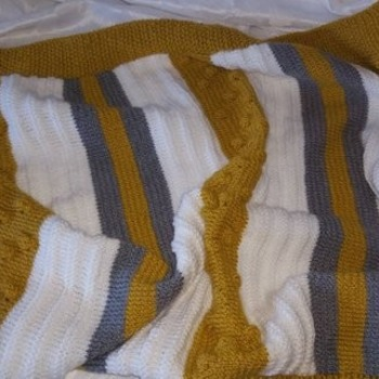 hand knitted baby pram crib cuddle blanket