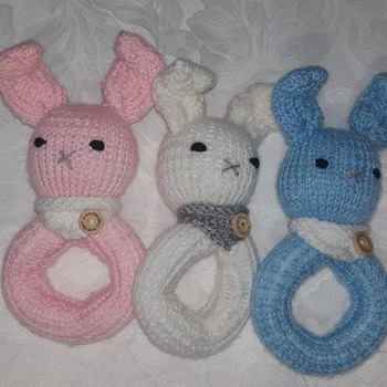 hand knitted little bunny soft toy teething ring