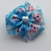 Handmade blue Frozen hair ribbon bow for girl alligator clip hair accessories