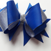 Handmade blue hair ribbon bow for girls alligator clip