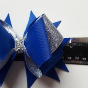 Handmade blue hair ribbon bow for girls alligator clip