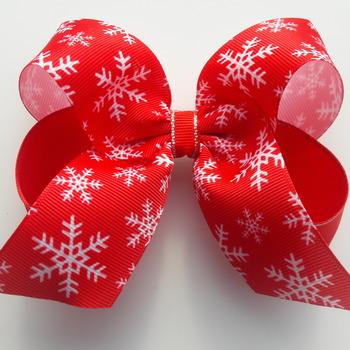 Handmade Christmas hair ribbon bow for girls alligator clip