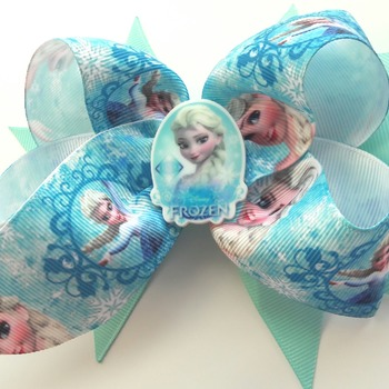 Handmade Frozen Elsa hair ribbon bow for girls alligator clip hair accessories