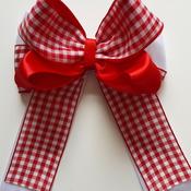 "Handmade hair ribbon bow gingham school bow 5"" alligator clip"