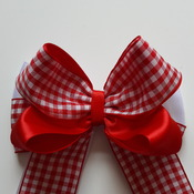 "Handmade hair ribbon bow gingham school bow 5"" alligator clip"