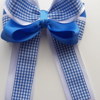 Handmade hair ribbon gingham bow for girls alligator clip hair accessories