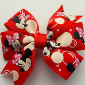 Handmade Minnie Mouse hair ribbon bow for girl with alligator clip hair accessories