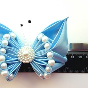 Handmade Pearl Blue hair ribbon bow for girl alligator clip hair accessories