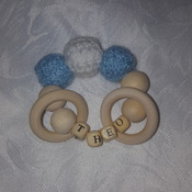 Handmade personalised teether ring