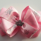 Handmade Pink crown hair ribbon bow for girls alligator clip hair accessgries