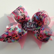 Handmade Pink Lol Doll hair ribbon bow for girls alligator clip hair accessories