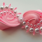 Handmade Pink pearl hair ribbon bow for girls alligator clip hair accessories