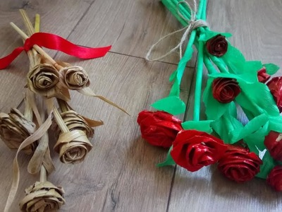 How to make Beautiful roses from corn leaves Tutorial.Amazing craft from corn leaves.