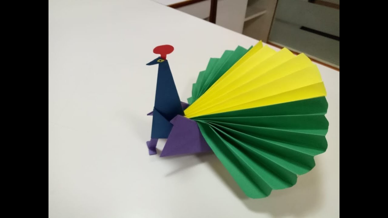 how to make origami paper peacock craft step by step easy