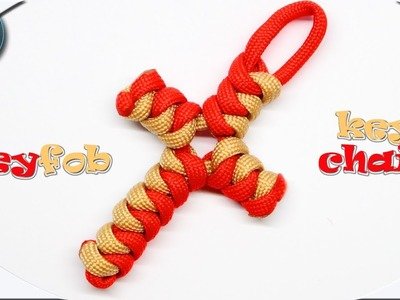 How to make paracord Cross Keyfob Keychain 2 colors DIY Paracord Tutorial Fast and Easy Paracord Pro