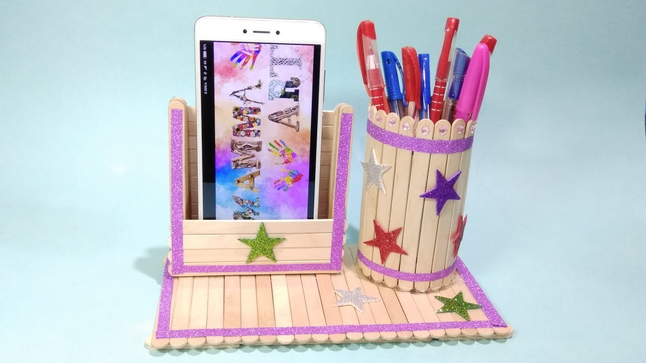 Ice Stick Craft Work Diy Pen Stand