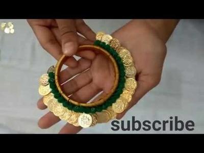 Latest lakshmi coin bangle DIY idea | beginners tutorial  | unique and attractive coin bangles