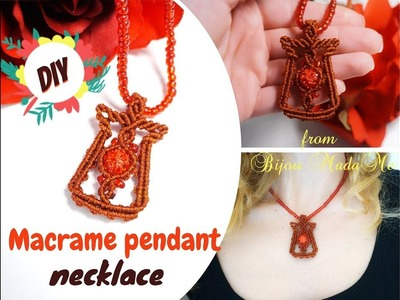 Macrame pendant tutorial | How to make macrame necklace with beads | DIY macrame jewelry & crafts