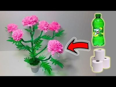 Marigold flower Tree with Plastic bottle and Tissue paper # Craft with plastic bottle by rasel craft