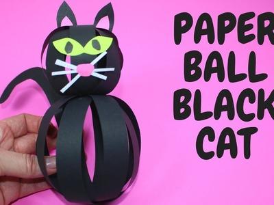 Paper Ball Black Cat | Halloween Craft for Kids