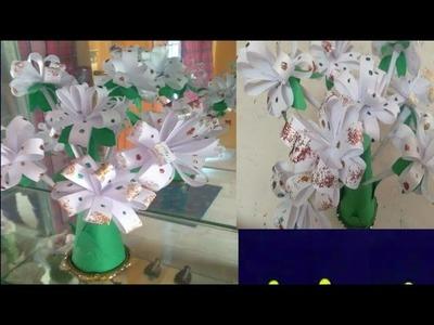 Paper flower craft easist method flower vass