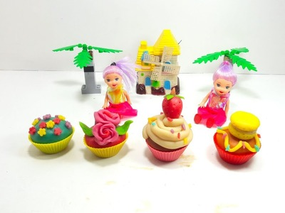 Play Doh Doll Cupcake.   How to decorate a Cupcake.  DIY Tutorial for Kids