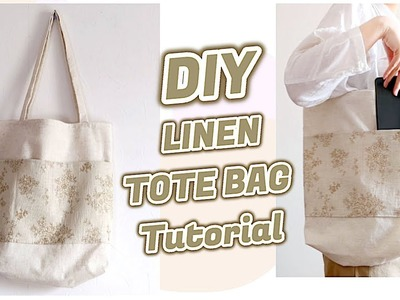 Sewing for Beginners DIY LINEN TOTE BAG Tutorial. 手作り+ファッション. Costura. 린넨 에코백 만들기ㅣmadebyaya