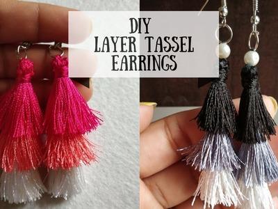 Tassel Earrings. How to make Silk Thread Jewelry. DIY Multi Layered Tassel Earrings