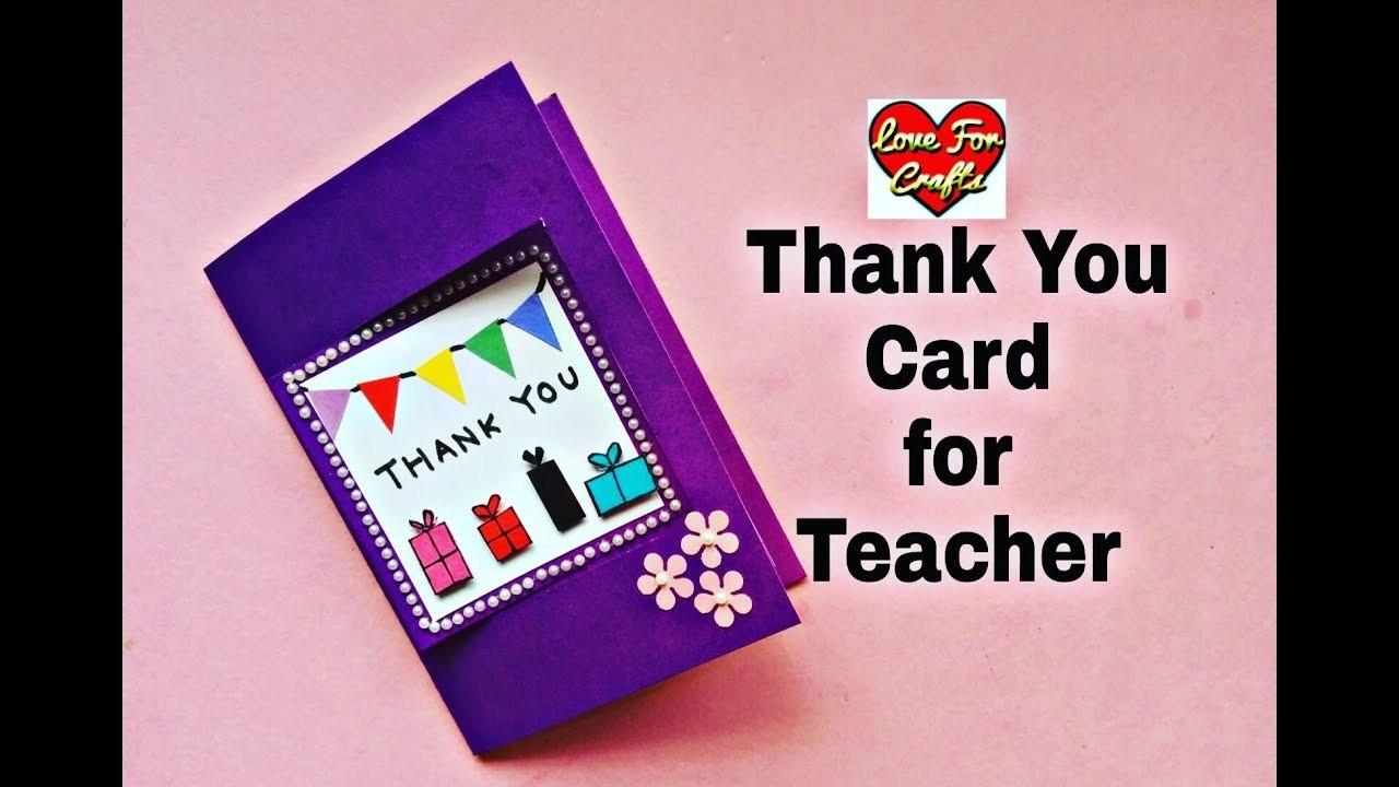 Thank You Card For Teacher Easy Handmade Greeting Card Diy Gift Idea